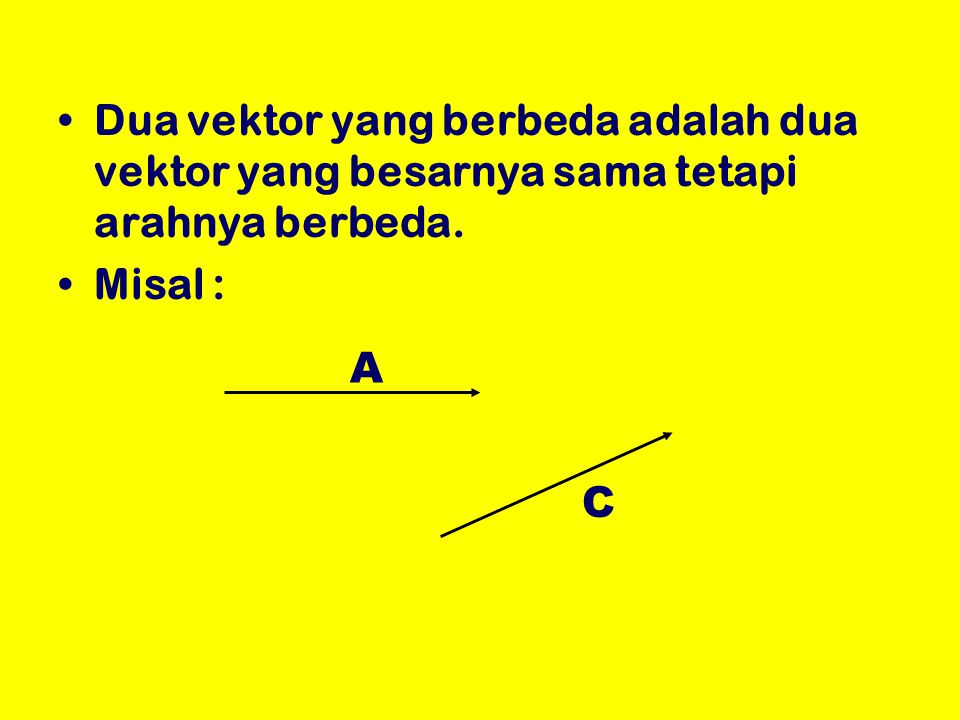 Dua vektor yang berbeda adalah dua vektor yang besarnya sama tetapi arahnya berbeda.