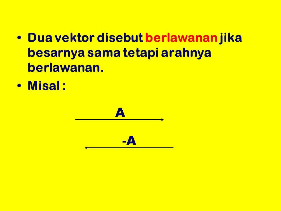 Dua vektor disebut berlawanan jika besarnya sama tetapi arahnya berlawanan.