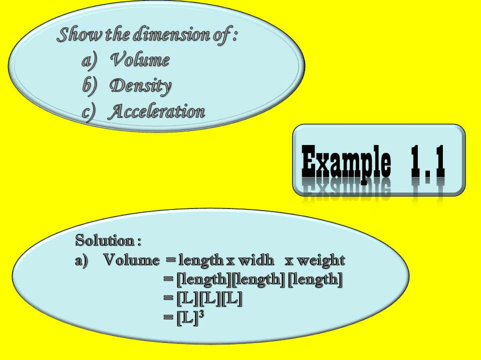 Example 1.1 Show the dimension of : Volume Density Acceleration