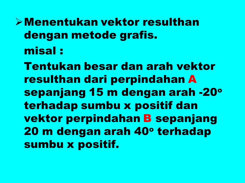 Menentukan vektor resulthan dengan metode grafis.
