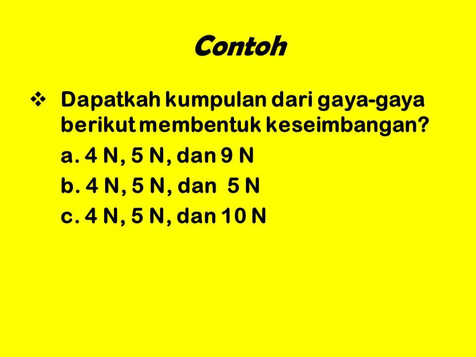 Contoh Dapatkah kumpulan dari gaya-gaya berikut membentuk keseimbangan a. 4 N, 5 N, dan 9 N. b. 4 N, 5 N, dan 5 N.