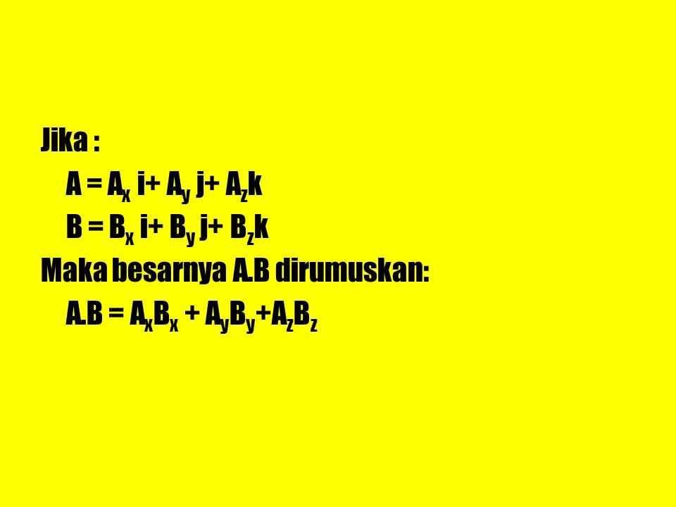 Jika : A = Ax i+ Ay j+ Azk B = Bx i+ By j+ Bzk Maka besarnya A.B dirumuskan: A.B = AxBx + AyBy+AzBz