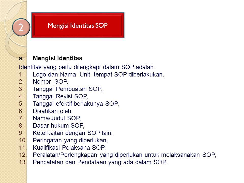 2 Mengisi Identitas SOP Mengisi Identitas