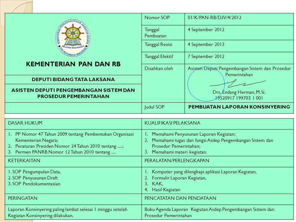 KEMENTERIAN PAN DAN RB Nomor SOP 01/K/PAN-RB/D.IV/4/2012