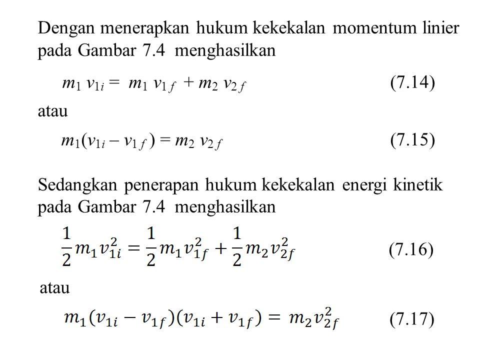 Dengan menerapkan hukum kekekalan momentum linier pada Gambar 7