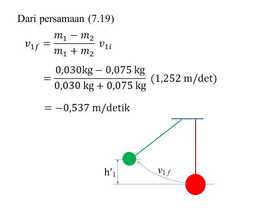 Dari persamaan (7.19) h1 v1 f