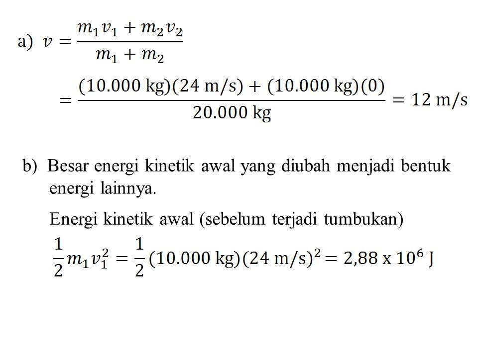 b) Besar energi kinetik awal yang diubah menjadi bentuk energi lainnya.