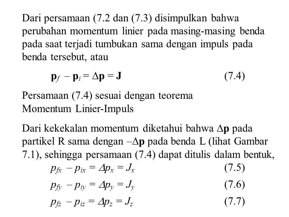 Dari persamaan (7.2 dan (7.3) disimpulkan bahwa