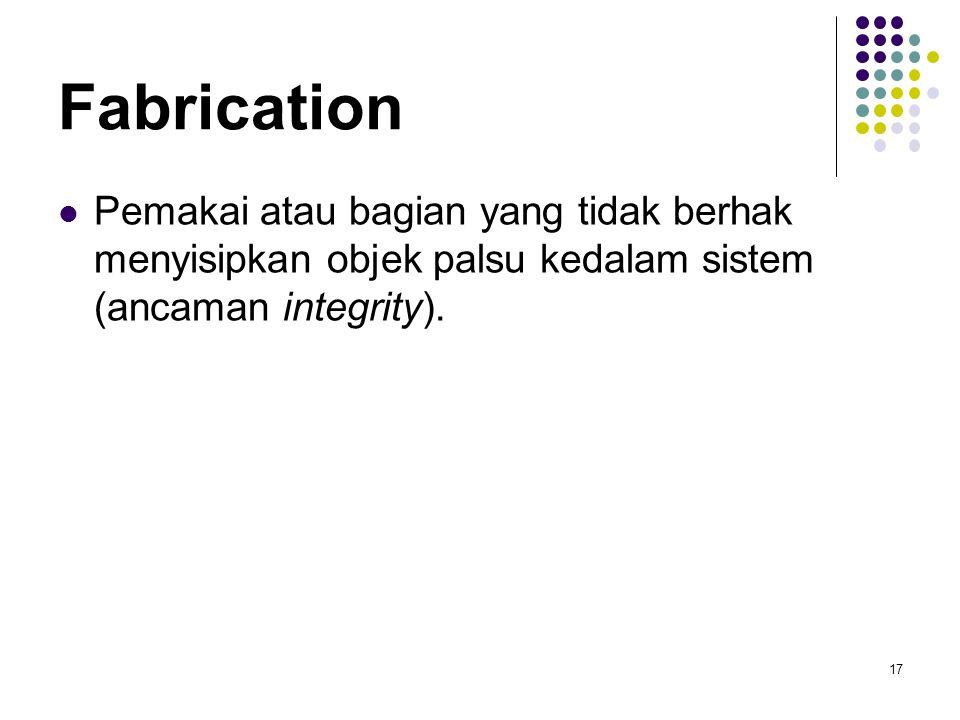Fabrication Pemakai atau bagian yang tidak berhak menyisipkan objek palsu kedalam sistem (ancaman integrity).