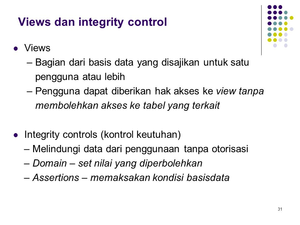 Views dan integrity control