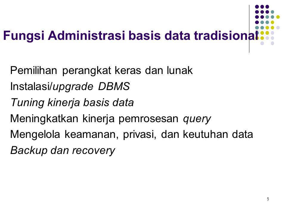Fungsi Administrasi basis data tradisional