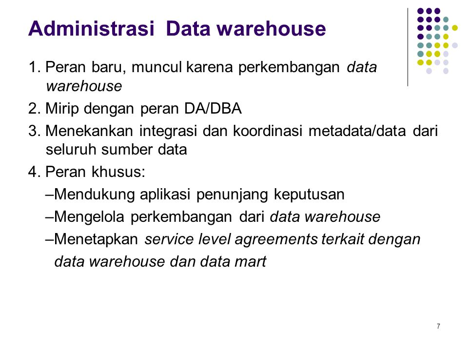 Administrasi Data warehouse