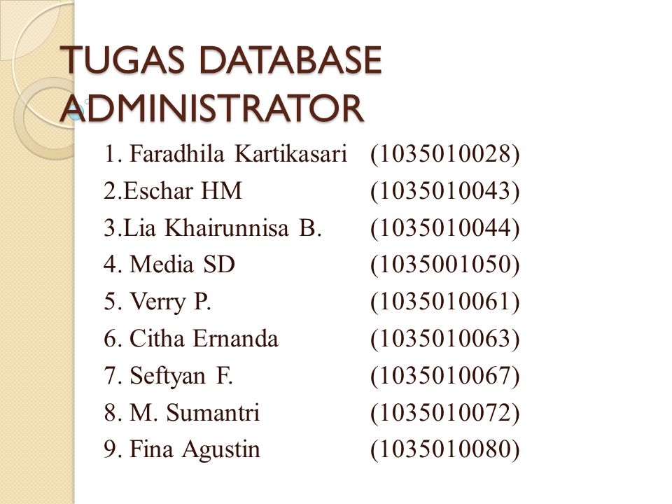 TUGAS DATABASE ADMINISTRATOR