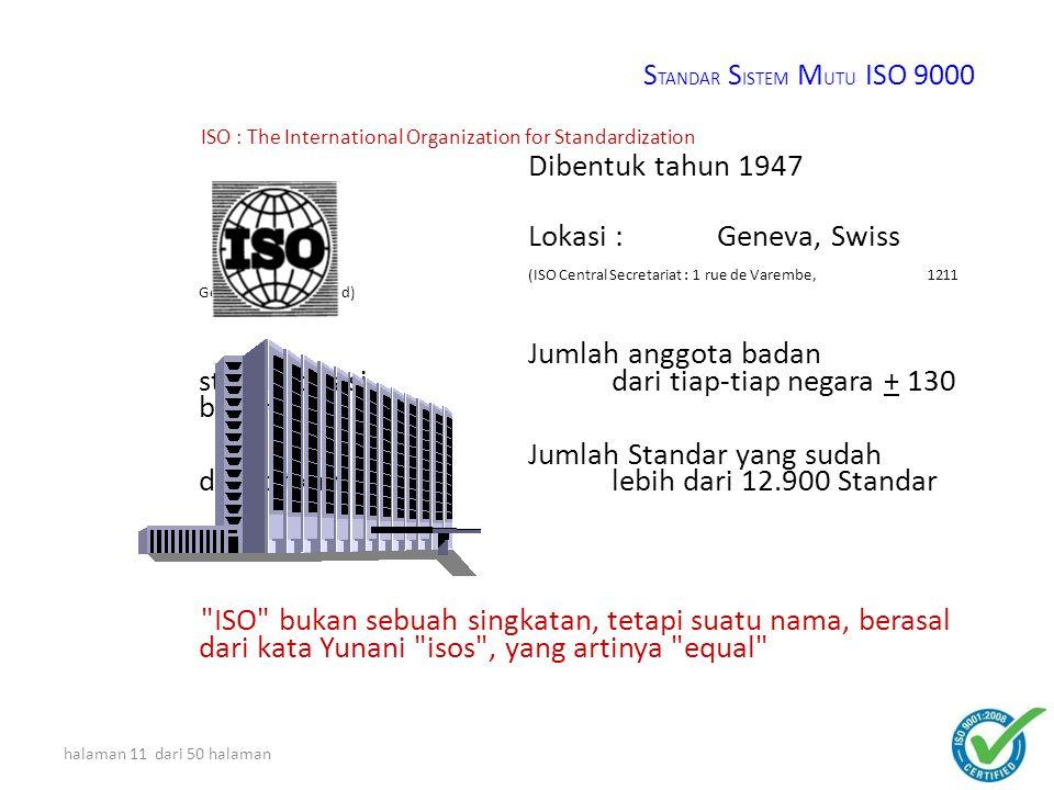Jumlah anggota badan standardisasi dari tiap-tiap negara + 130 badan