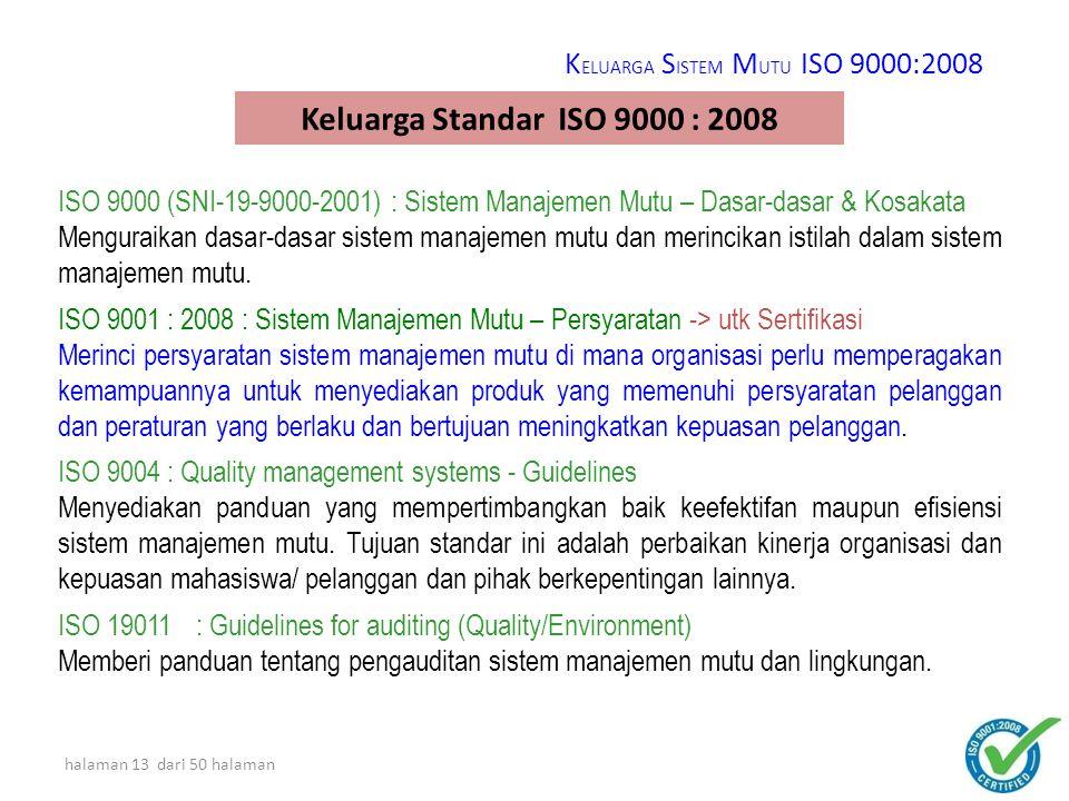 Keluarga Standar ISO 9000 : 2008 KELUARGA SISTEM MUTU ISO 9000:2008