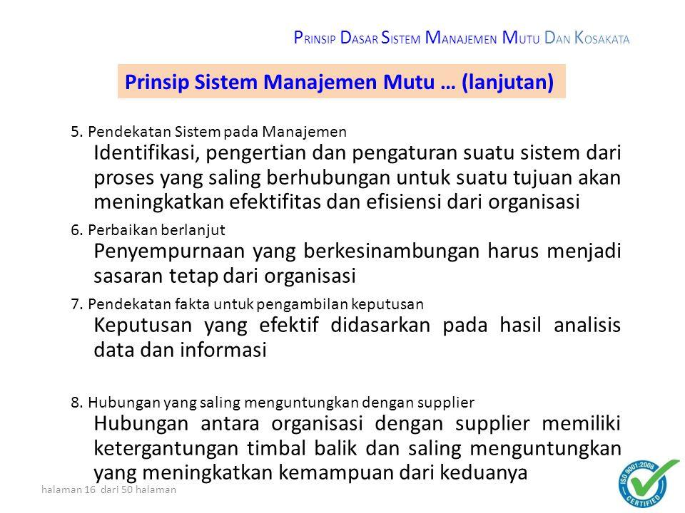 Prinsip Sistem Manajemen Mutu … (lanjutan)