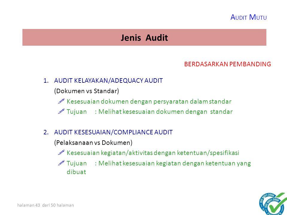Jenis Audit AUDIT MUTU BERDASARKAN PEMBANDING