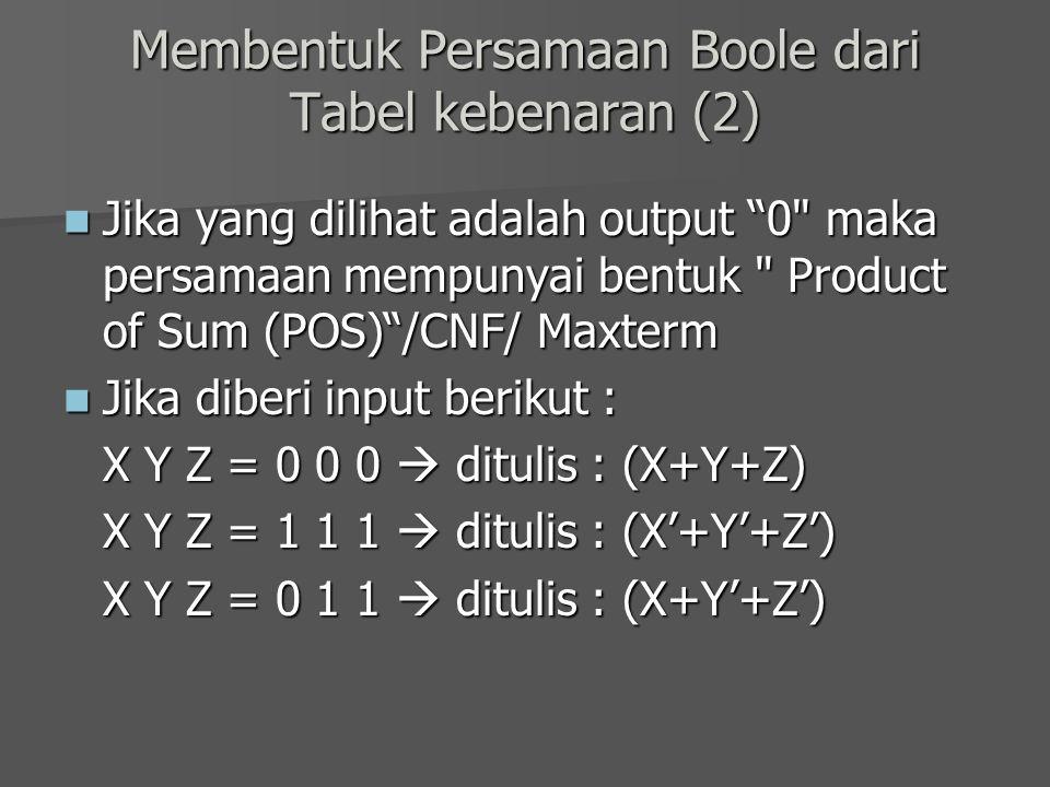 Membentuk Persamaan Boole dari Tabel kebenaran (2)