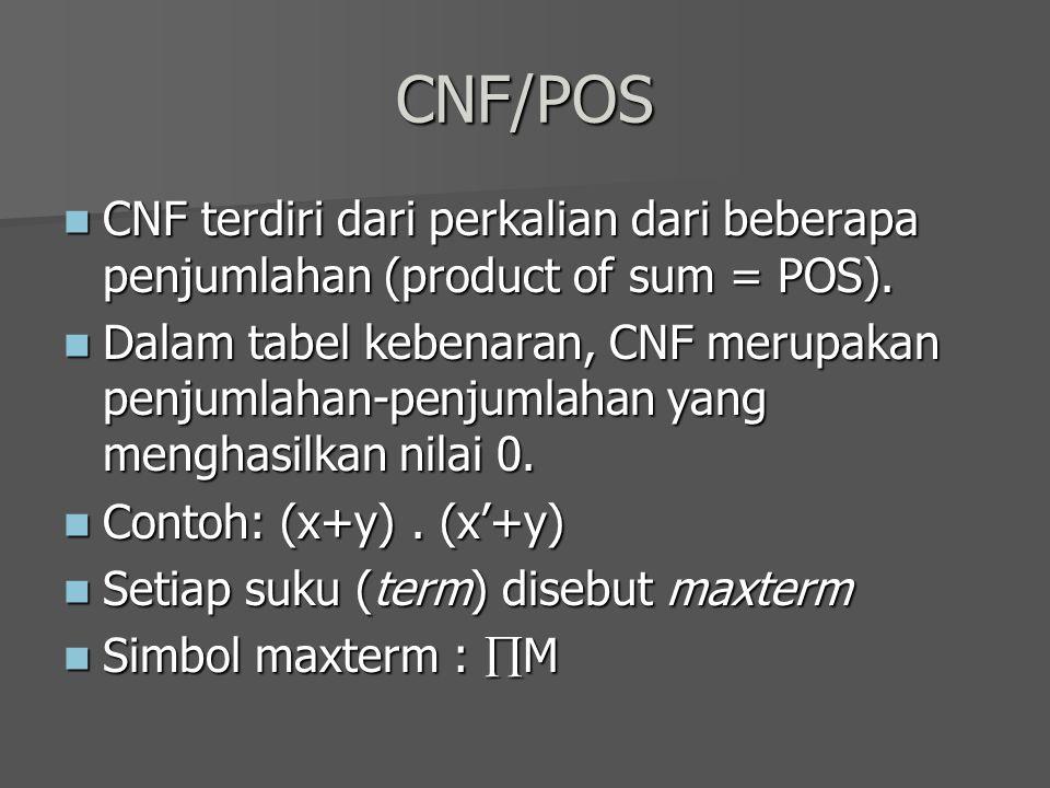 CNF/POS CNF terdiri dari perkalian dari beberapa penjumlahan (product of sum = POS).