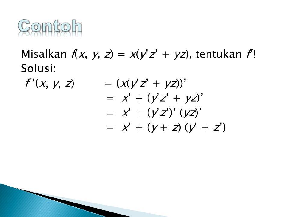 Contoh Misalkan f(x, y, z) = x(y'z' + yz), tentukan f'! Solusi: