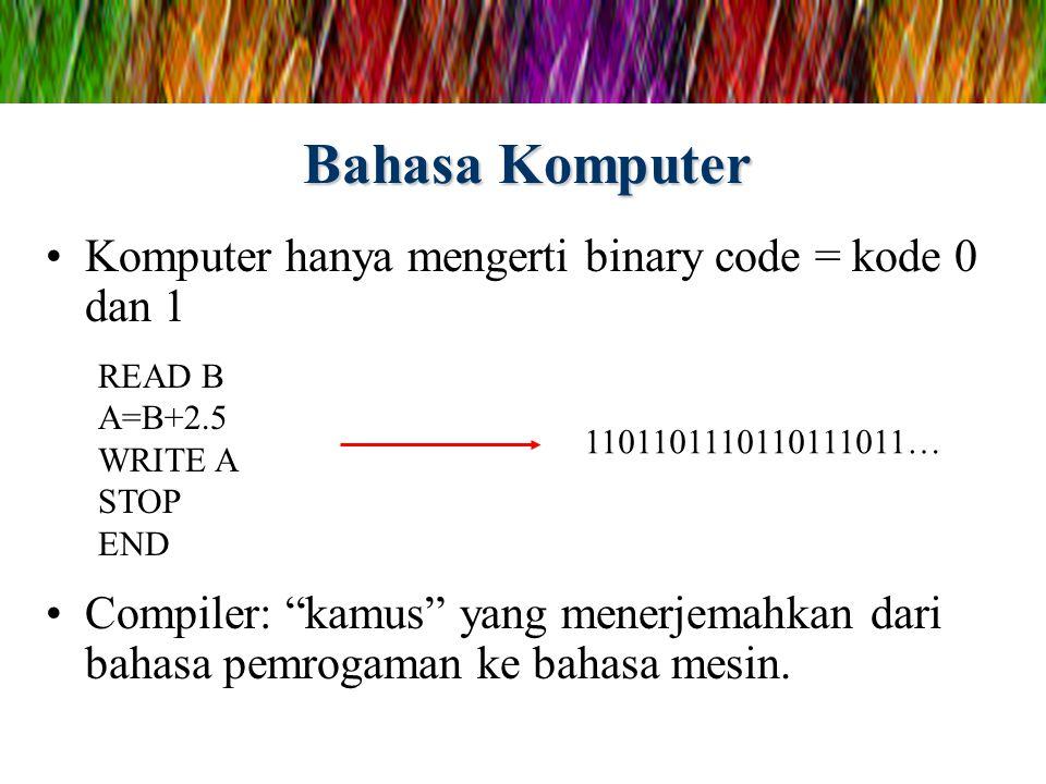 Bahasa Komputer Komputer hanya mengerti binary code = kode 0 dan 1