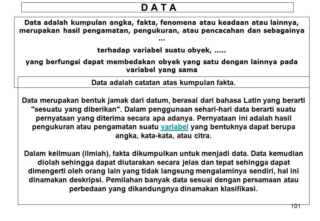 D A T A Data adalah catatan atas kumpulan fakta.