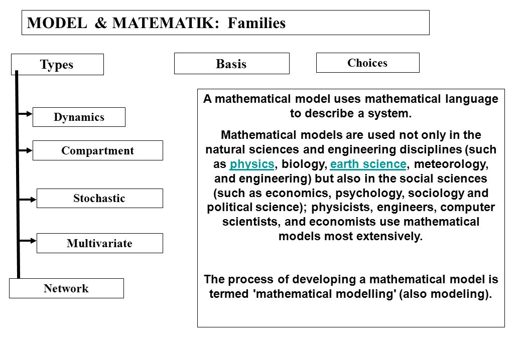 A mathematical model uses mathematical language to describe a system.