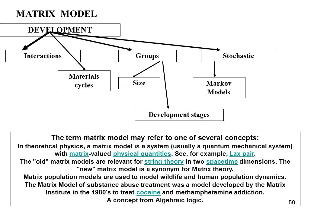 MATRIX MODEL DEVELOPMENT Interactions Groups Stochastic