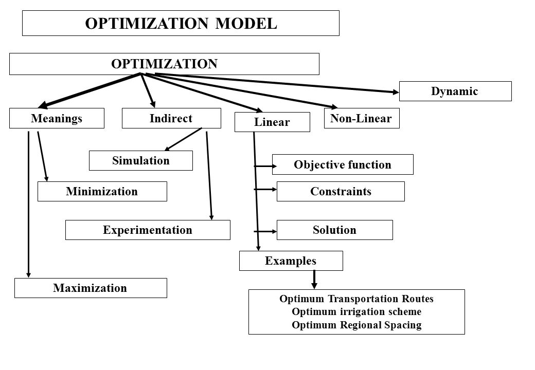 OPTIMIZATION MODEL OPTIMIZATION Dynamic Meanings Indirect Non-Linear