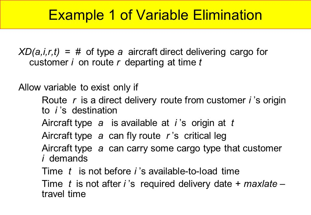 Example 1 of Variable Elimination