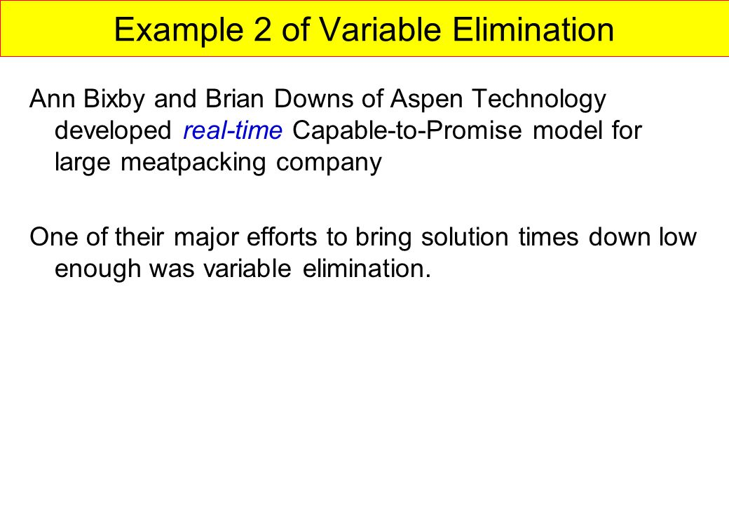 Example 2 of Variable Elimination