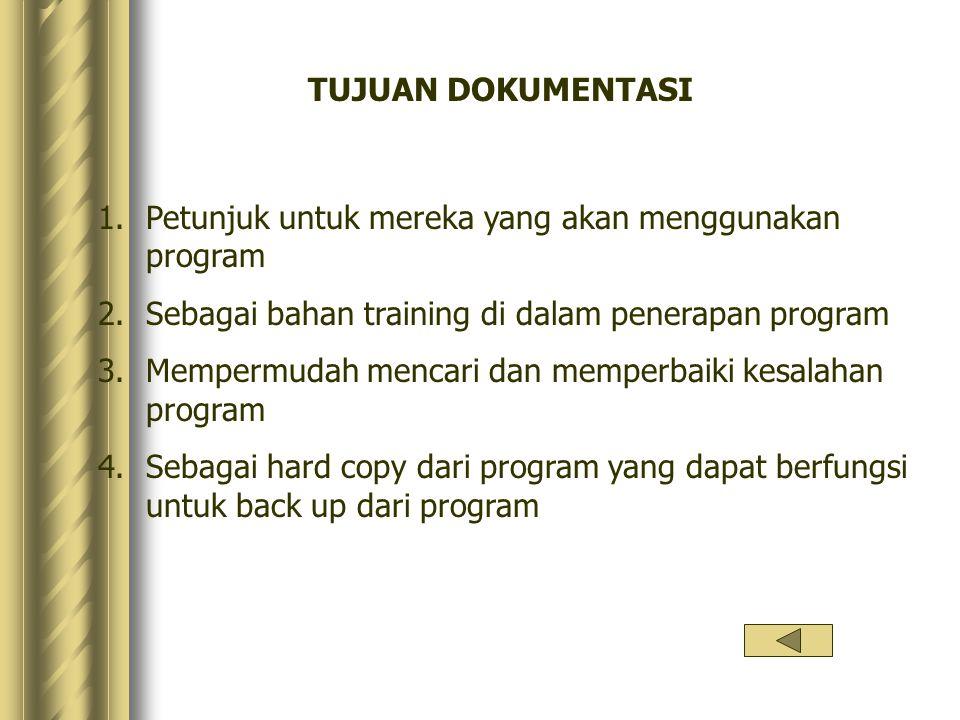 TUJUAN DOKUMENTASI Petunjuk untuk mereka yang akan menggunakan program. Sebagai bahan training di dalam penerapan program.