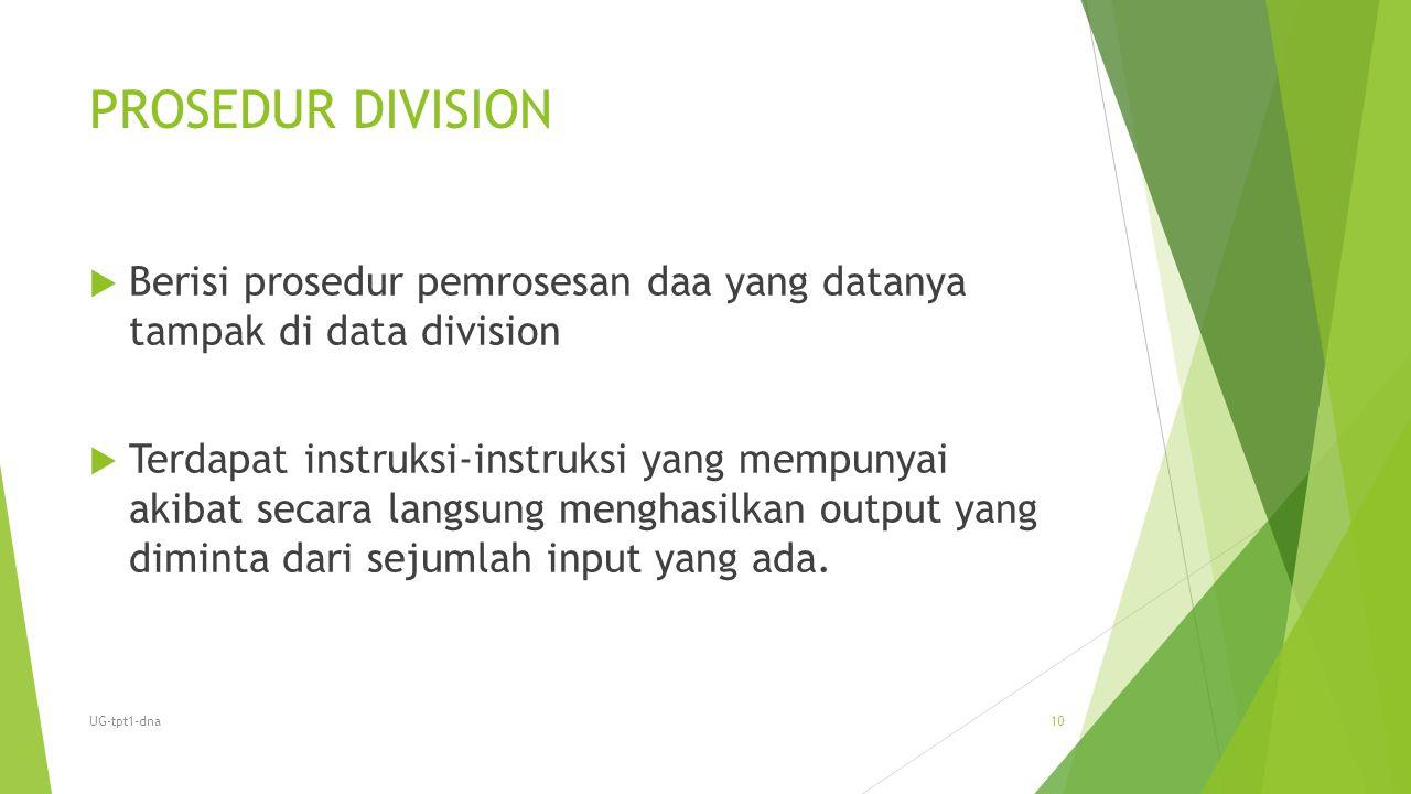 PROSEDUR DIVISION Berisi prosedur pemrosesan daa yang datanya tampak di data division.