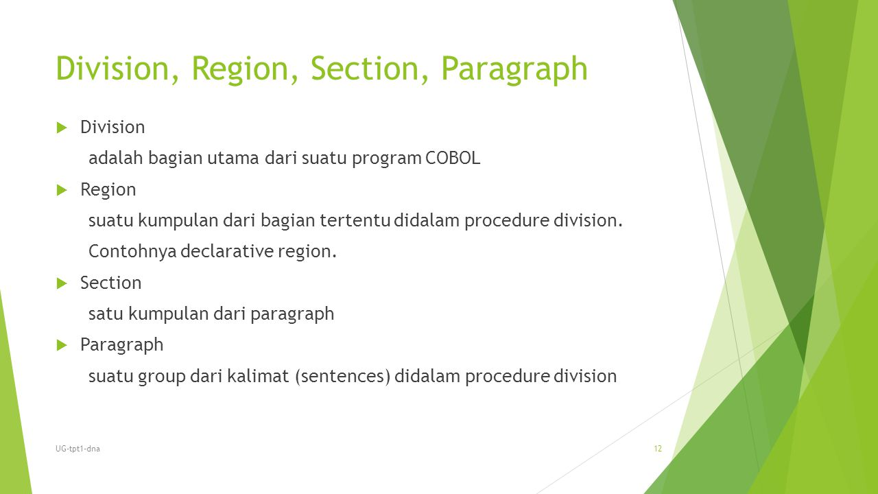 Division, Region, Section, Paragraph