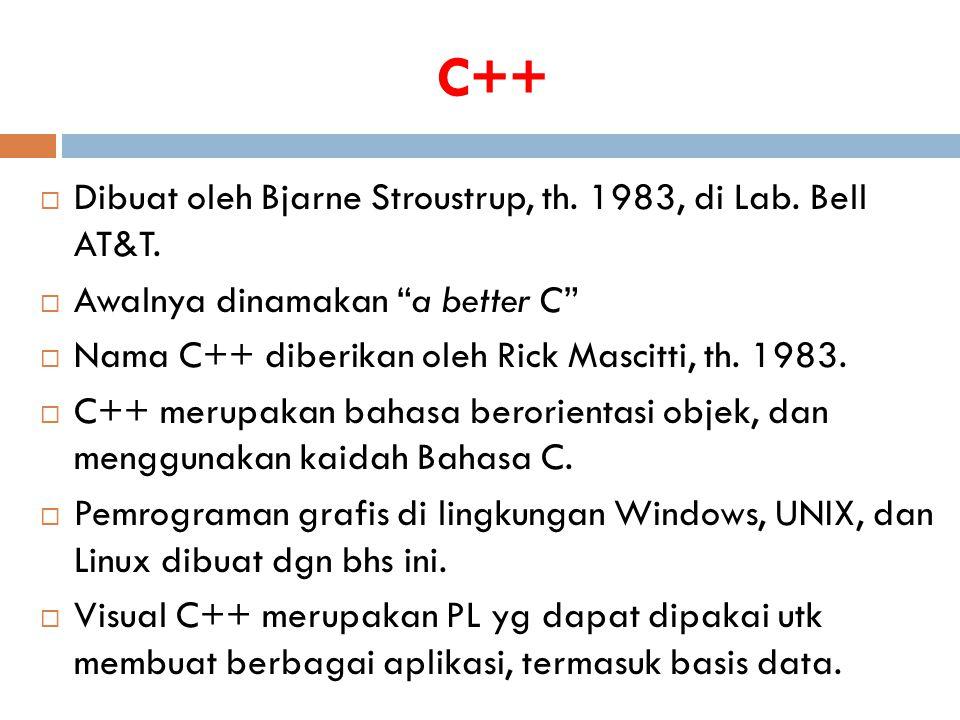 C++ Dibuat oleh Bjarne Stroustrup, th. 1983, di Lab. Bell AT&T.