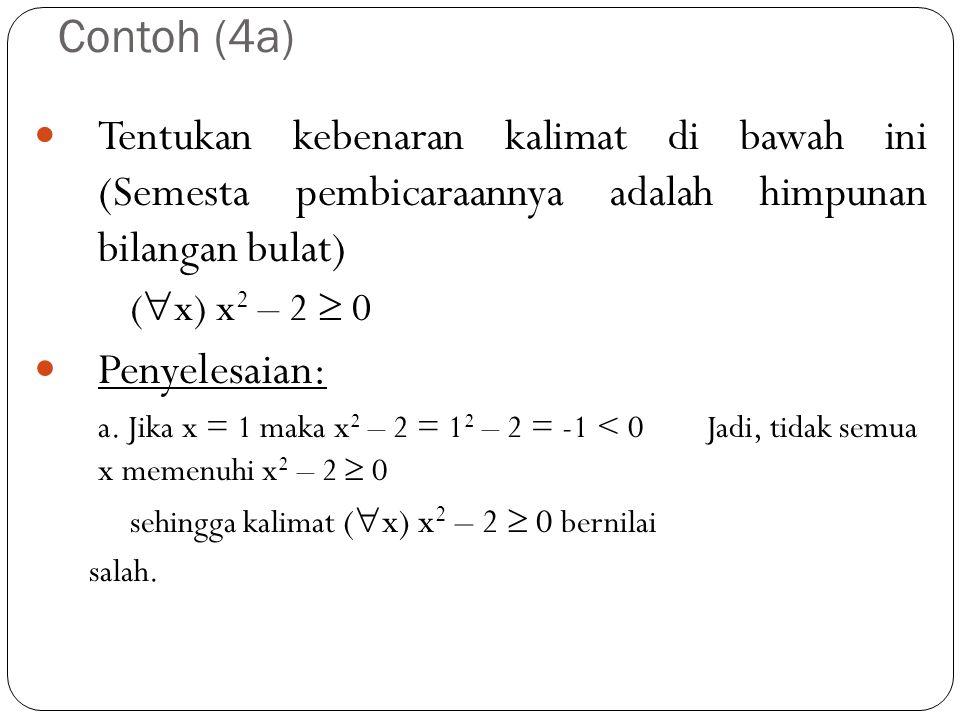 Contoh (4a) Penyelesaian:
