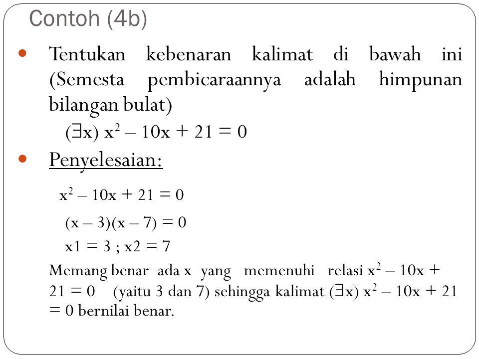 x2 – 10x + 21 = 0 Contoh (4b) Penyelesaian: