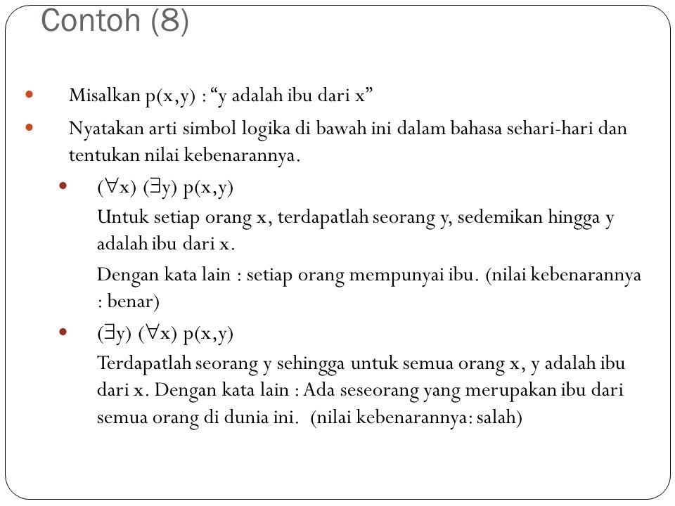 Contoh (8) Misalkan p(x,y) : y adalah ibu dari x