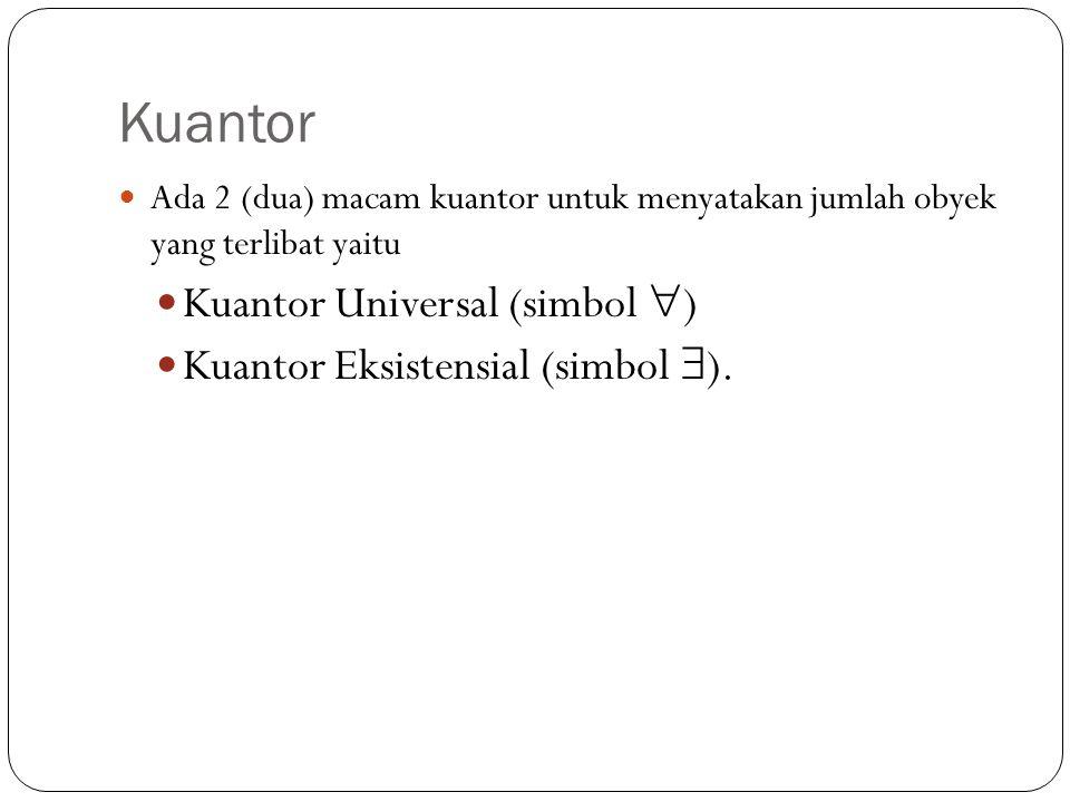 Kuantor Kuantor Universal (simbol ) Kuantor Eksistensial (simbol ).