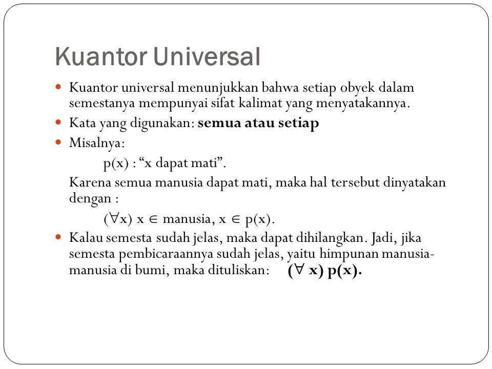 Kuantor Universal Kuantor universal menunjukkan bahwa setiap obyek dalam semestanya mempunyai sifat kalimat yang menyatakannya.
