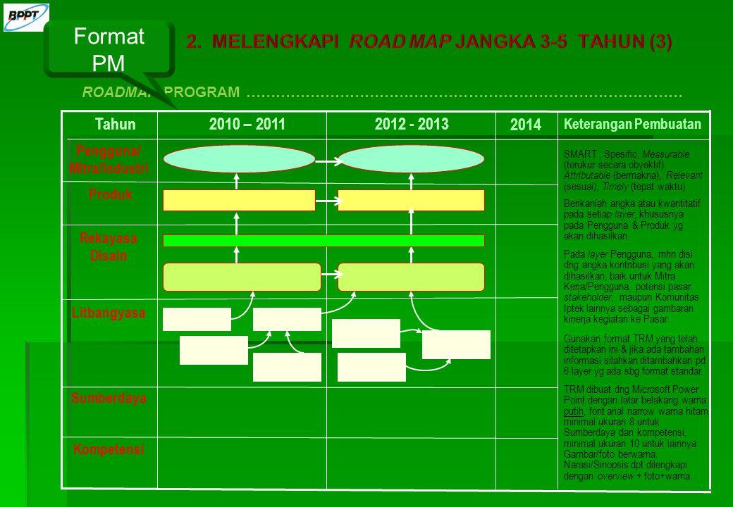 Format PM MELENGKAPI ROAD MAP JANGKA 3-5 TAHUN (3) Tahun 2010 – 2011