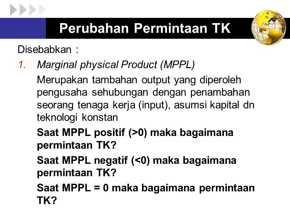 Perubahan Permintaan TK