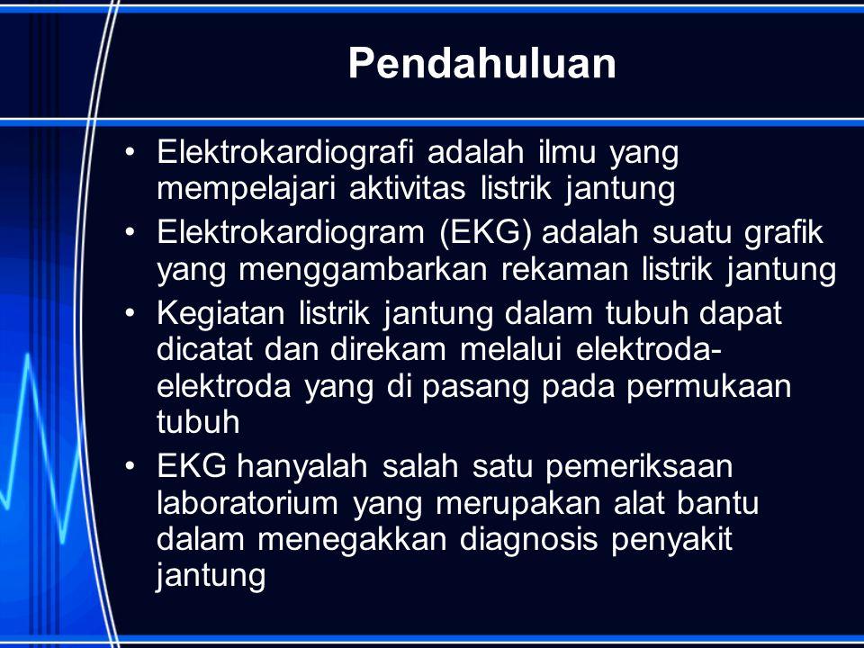 Pendahuluan Elektrokardiografi adalah ilmu yang mempelajari aktivitas listrik jantung.