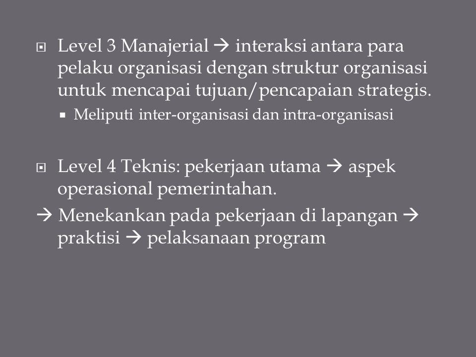 Level 4 Teknis: pekerjaan utama  aspek operasional pemerintahan.