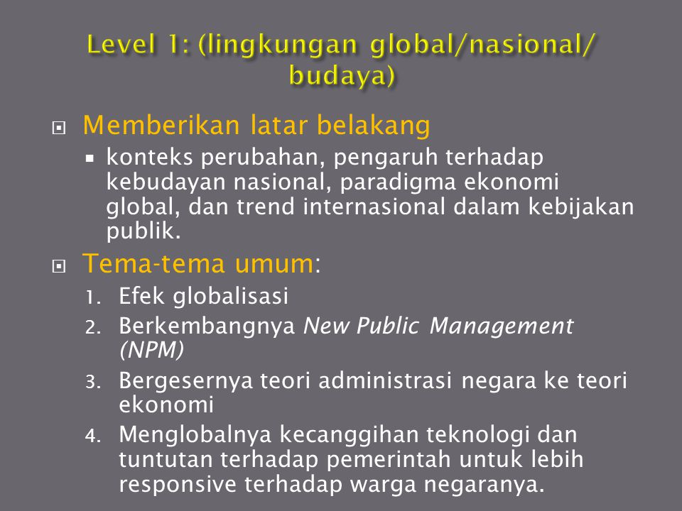 Level 1: (lingkungan global/nasional/ budaya)