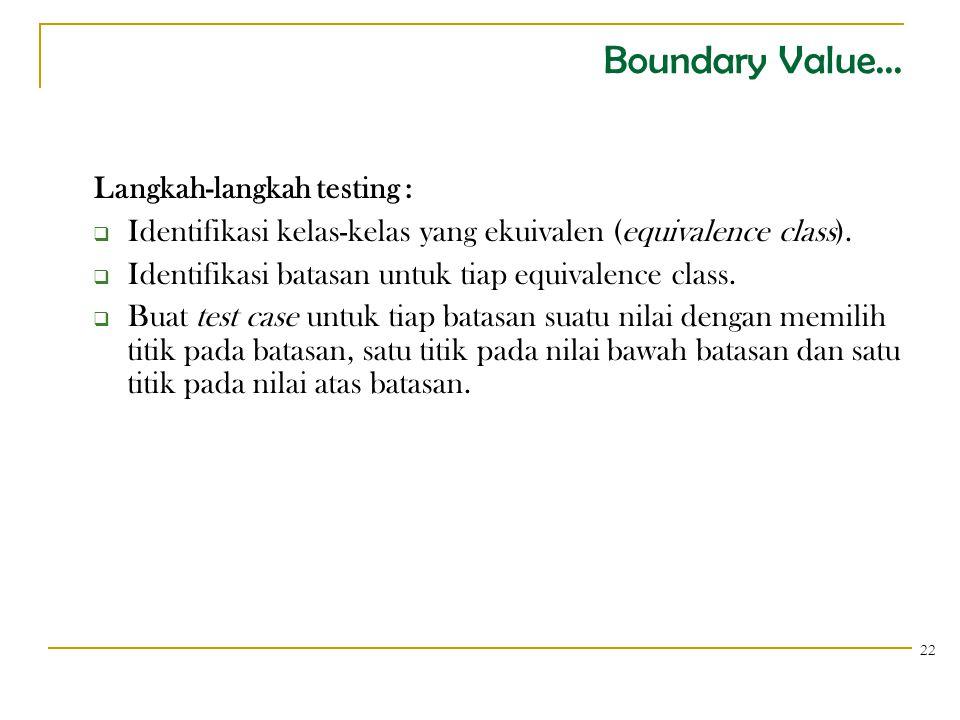 Boundary Value... Langkah-langkah testing :