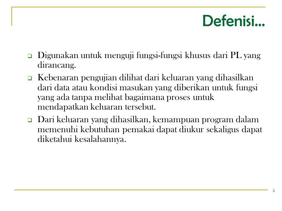 Defenisi... Digunakan untuk menguji fungsi-fungsi khusus dari PL yang dirancang.