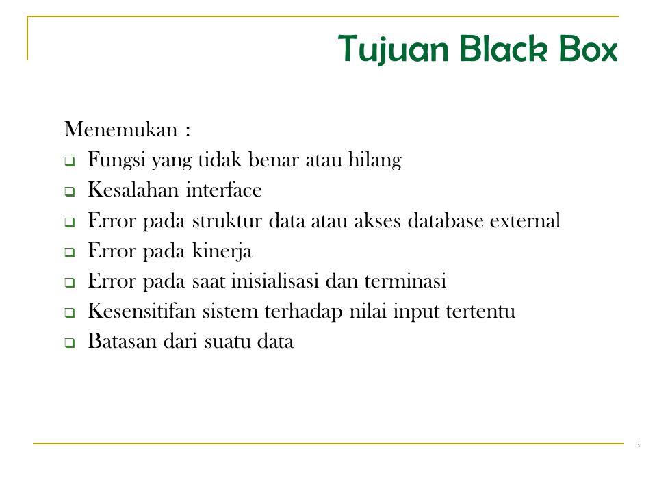 Tujuan Black Box Menemukan : Fungsi yang tidak benar atau hilang