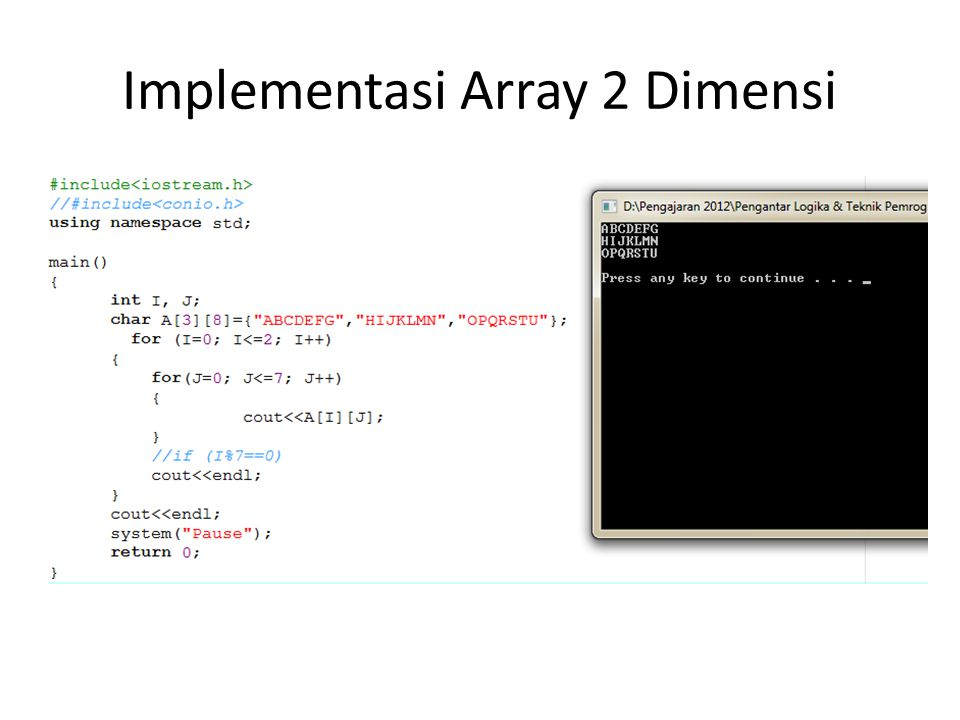 Implementasi Array 2 Dimensi