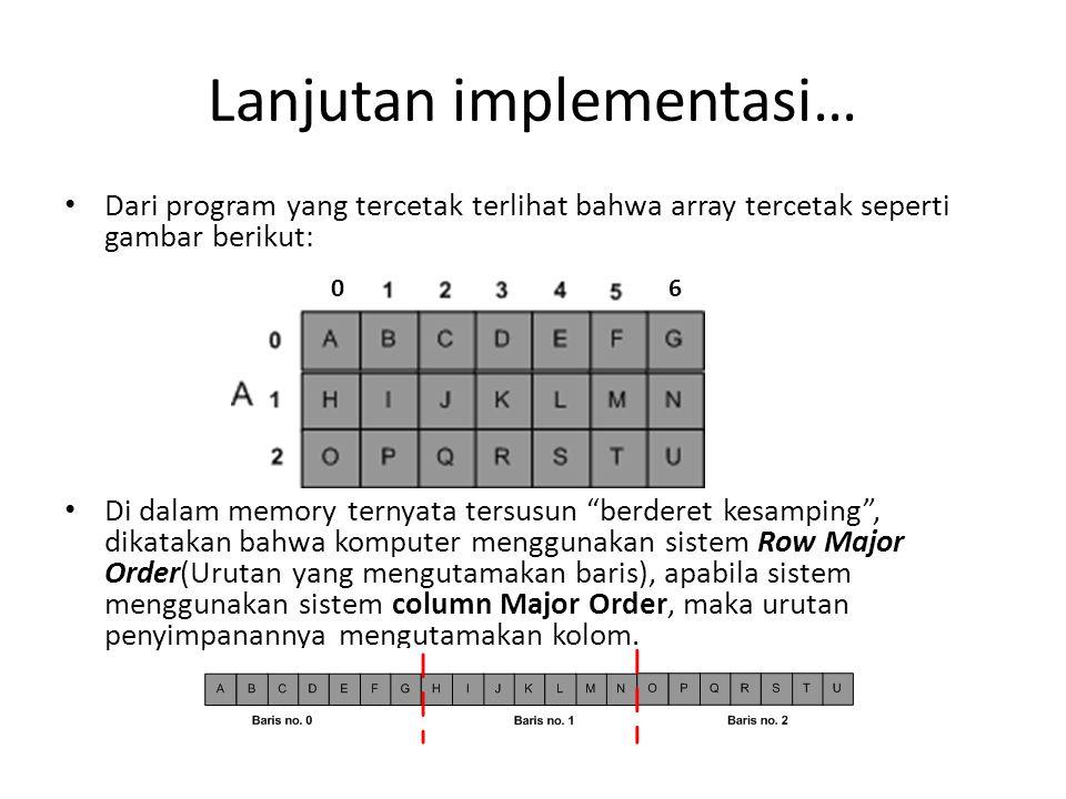Lanjutan implementasi…